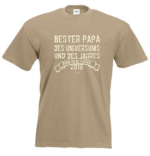 Bester Papa des Universums Daddy Vater Geschenke Set Vatertag Sprüche Fun T-Shirt und Minishirt Farbe: sand Sand
