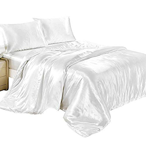 zlzty 4Pcs Satin Silk Bettbezug-Sets Spannbetttuch Kissenbezüge Schlafzimmer Bettbezug Bettwäsche-Sets, Einzelbettbezug @ White_King (Bettwäsche Bettbezug King White)
