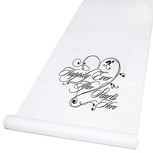 edding Accessories Fabric Aisle Runner, 100-Feet Long, White Happiliy Ever After ()