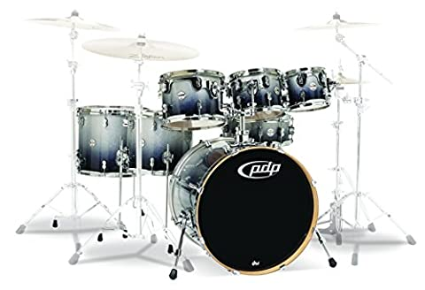 Pacific Drums PDCM2217SB 7-Piece Drumset with Chrome Hardware - Silver to Black Fade