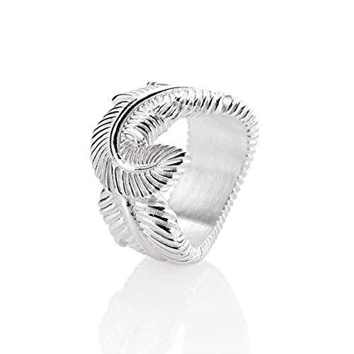 Drachenfels Luxus Damen Federring   Kollektion La Luna   Edler Engelsfeder Ring in Echtsilber   Designer-Schmuck aus 925 Sterling Silber   Gr. 60