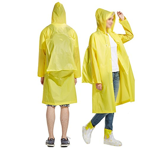 Damen Yellow Regen-mantel (ZXQZ Erwachsene Regenmantel Männer und Frauen Outdoor Wandern Transparent Regenmantel Regen und wasserdicht Single Poncho regenjacken ( Farbe : Gelb , größe : M ))