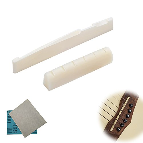 1 Set of Real Bone String Bridge Pin with Sand Paper for 6-Strings Classical Acoustic Guitar Bone String Bridge Replacement Parts with Shell Dot Saddle and Nut
