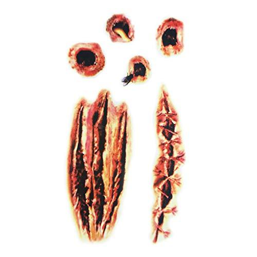 Kostüm Gesicht Narbe - Halloween Temporäre Tattoos Realistisch Halloween Narben Wunden Tattoos Zombie Schminke Scars Tattoo Gefälschter Scab Blut Kratzer Aufkleber für Halloween Kostüm Makeup und Cosplay (C)