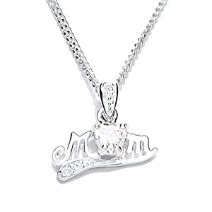 MiChic Silver April Birthstone Mum Pendant with Cubic Zirconia on a 46 cm Chain