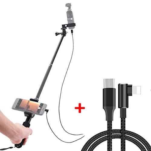iEago RC Selfie Stick évolutif Tige de Monopode en Aluminium avec Support de Téléphone Portable pour DJI OSMO Pocket (Extension Monopode + Câble iOS)