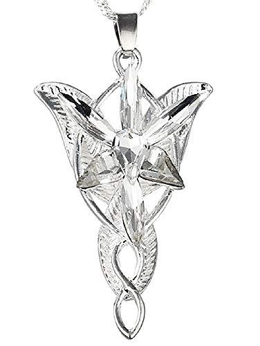 Collar – Colgante – incrustado – Arwen – Película – El Señor de los Anillos – Lord of The Rings – Estrella del vespro – Vener – Idea Regalo – Cosplay – Mujer – Chica – Estilizado – Color Plata