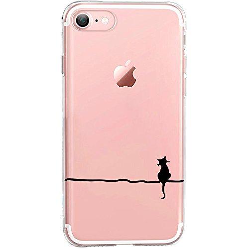 GIRLSCASES® | Hülle kompatibel für iPhone 8/7 | Im Katzen Erscheinungsbild | | Fashion Case transparente Schutzhülle aus Silikon