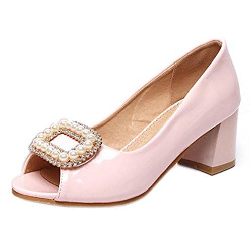 RAZAMAZA Femme Mode Peep Toe Bloc Sandales A Enfiler Chaussures Avec Perles Strass A Bureau Rose