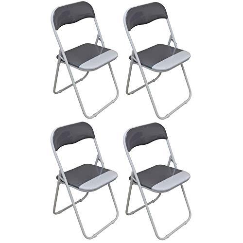 Klappstuhl - gepolstert - kühles Grau/Weiß - 4 Stück