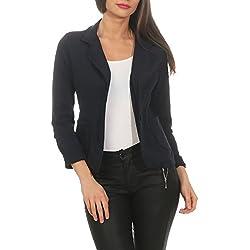 ZARMEXX Blazer con botones de mujer Chaqueta con botones Chaqueta básica de abrigo Vintage (marina, S)