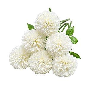 Tifuly Flores de Hortensia Artificial, 12 Piezas de crisantemo de Seda pequeña Bola de Flores para la decoración de la…