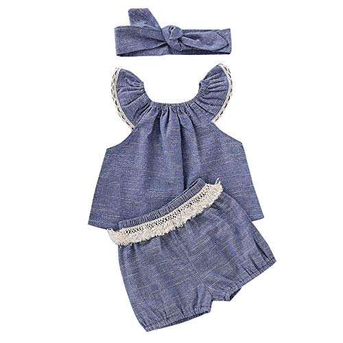 Chennie 3 stück Baby, Kleinkind Mädchen Schulterfrei Top + Bloomer Shorts + Stirnband Sommer Outfits Set (Color : Blau, Size : 6M-12M) -