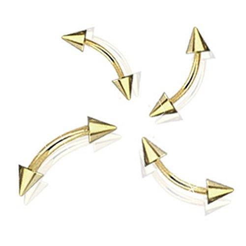 Piercing arcade curvé avec pointes plaqué or sur acier chirurgical 316L Taille 1,2 mm x 8 mm x 3 mm