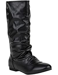 Damen Schlupfstiefel | Veloursleder Leder-Optik | Flache Stiefel | Komfort Schuhe | Basic Boots | Damenschuhe | Flandell®