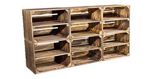 6er Set kleine geflammte Kiste für Schuhregal und Bücherregal - flambierte Obstkiste Holzkiste...
