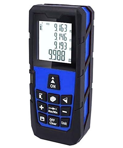Von Tekker® Télémètre Laser Multifonctionnel - Fonctionne en Extérieur - Mesure Mètre Portée 40m - Mètre Laser Ultra Haute Précision +/- 1.5 mm - Indice De Protection IP54 - Ecran LCD Rétro-éclairé - Niveau à Bulle Intégré - Équipé d