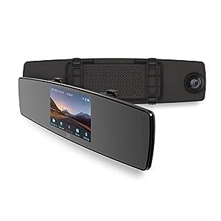 YI Rückspiegel DashCam Auto Kamera 1080p mit Dual Lens, Dash Camera Auto vorne hinten mit 4.3'' (10.9 cm) LCD Touchscreen, Rückfahrkamera Rückspiegel Monitor Auto DVR, WLAN und App für iOS/Android