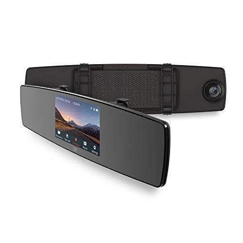 YI Rückspiegel Dash Camera Auto Kamera 1080p mit Dual Lens, Dashcam Auto vorne hinten mit 4.3'' (10.9 cm) LCD Touchscreen, Rückspiegel Monitor Rückspiegel Kamera Auto DVR Kfz Kamera, WLAN und App für iOS/Android - schwarz