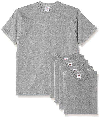 Fruit of the Loom Herren T-Shirt, 5er Pack Grey (Heather Grey)