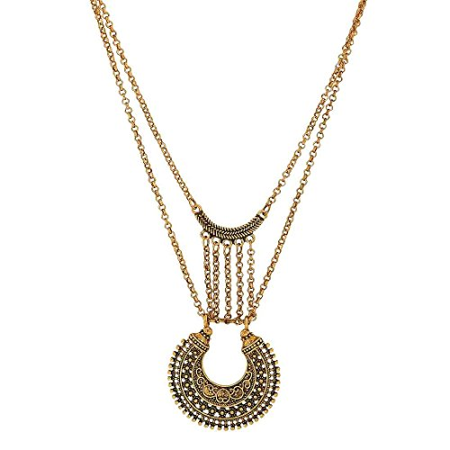 Maayra Designer Pendant Gold Cocktail Party Jewellery - Modern, Rhodium Plated, Brass based  available at amazon for Rs.399