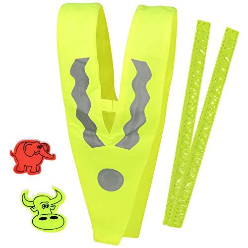 com-four® 5-teiliges Kinder Reflektor Set, Sicherheitskragen, Schnappband und reflektierende Sticker mit verschiedenen Motiven (05-teilig - Reflektorenset Kinder V3) -