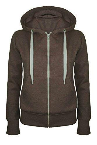 Damen-reiner Kapuzenpulli Mädchen Reißverschluss Top Womens Hoodies Sweatshirt Jacke Übergröße 6-22 - Braun, EU 38 (Braun Kinder Hoodie)