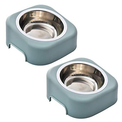 WSGJHB Erhöhte Hundenapf 8 Grad gekippt, Nicht verschüttet, Nicht verrutschen Hundenäpfe erhöht Feeder für Katzen und kleine Hunde Edelstahlschale abnehmbar,Blue -