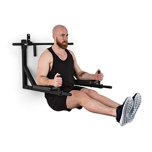 Klarfit Bouncer - MultiGym, Klimmzugstation, Dipstation, Multistation, 8 Griffmöglichkeiten, gepolstert, erweiterbar, hochbelastbar, bis 200 kg, Q235 Stahl, inkl. Wandhaken, schwarz