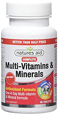 Natures Aid Complete Multi-Vitamins and Minerals, 90 Tablets (One-a-Day Antioxidant Formula, Daily Multi-Vitamin Supplement for Energy, Immune, Brain and Bone Health, Vegan Society Approved) by Natures Aid Limited