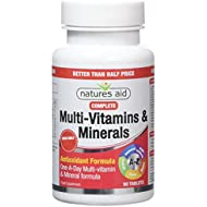 Natures Aid Complete Multi-Vitamins and Minerals, 90 Tablets (One-a-Day Antioxidant Formula, Daily Multi-Vitamin Supplement for Energy, Immune, Brain and Bone Health, Vegan Society Approved)