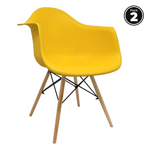 Pack sillas comedor amarillas estilo Eames