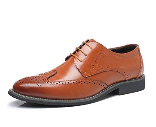 Business Herren Anzugschuhe, Lederschuhe Schuhe Brogue Schnürhalbschuhe Oxford Smoking Lackleder Hochzeit Derby Leder Schwarz Braun 38-48 YL45 (Derby Oxford)