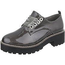 Ital-Design Zapatos Para Mujer Mocasines Tacón Ancho Zapatos con Cordones