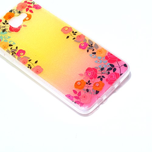 Coque Samsung Galaxy J5 Prime Glitter, Samsung Galaxy J5 Prime Coque Brillante, SainCat Ultra Slim TPU Silicone Case pour Samsung Galaxy J5 Prime, Glitter Bling Diamante Strass Anti-Scratch Soft Gel 3 Roses