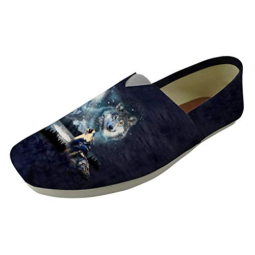 Mens Trendy Wolf Design Slip On Shoes Canvas Moccasins Summer Breath Comfy Pumps Wolf 1 UK 8 Jessica High Heel Pumps
