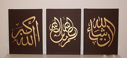 Handbemaltes Arabische Kalligraphie Islamische Art Wand 3Stück Öl Gemälde auf Leinwand für Wohnzimmer gerahmt und gespannt braun