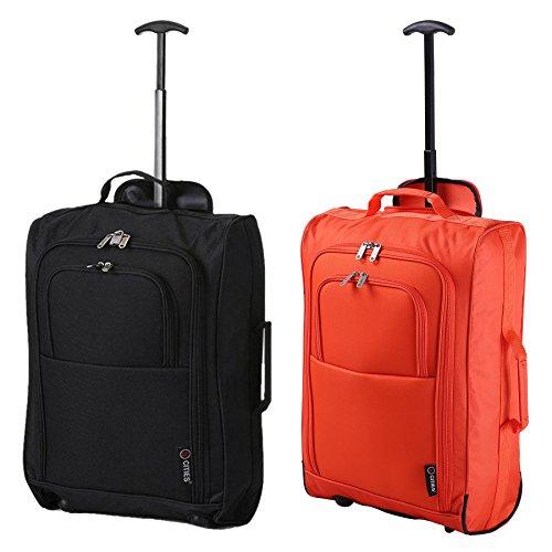 5 Cities Set mit 2 Superleichtgewicht Cabin Approved Gepäck Travel Wheely Suitcase Radfahrtaschen Taschen (Orange + Schwarz 55CM)