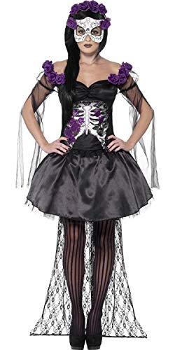 Rose Senorita Kostüm - Fancy Me Damen Sexy Senorita Skelett mit Maske Tag der Toten Zuckerschädel Halloween Kostüm Kleid Outfit - Schwarz, 8-10