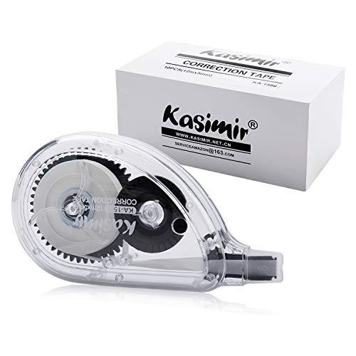 Kasimir Korrekturroller Korrekturmaus Set Korrekturband 10 Stück à 12m x 5mm Schwarz, Ungiftig, umweltfreundlich und von der FDA zugelassen ideal für Studenten kinder, im Büro arbeitendes Personal -