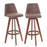 Mendler 2X Barhocker HWC-C43, Barstuhl Tresenhocker, Holz Textil drehbar ~ Vintage braun dunkle Beine