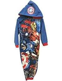 Captain America & Iron Man Official Marvel Avengers Boys Hooded Onesie Sleepsuit Pyjamas