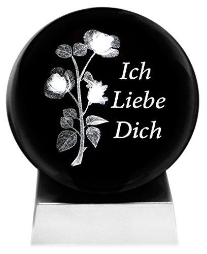 Kaltner Präsente Stimmungslicht - EIN ganz besonderes Geschenk: LED Kerze/Kristall Glaskugel / 3D-Laser-Gravur Rosen ICH Liebe Dich Kristall-kerze