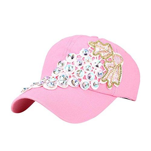 Die Zeit Kinder-baseball-jersey (KanLin Rhinestone Baseball Cap,Baseball Cap Snapback Hip Hop Hat (Rosa))