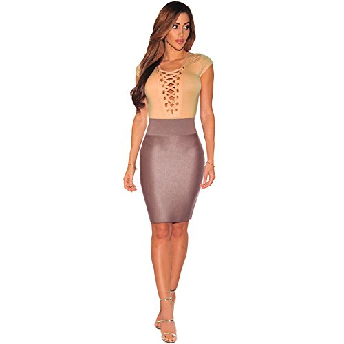 meinice Lace Up Maniche Body apricot