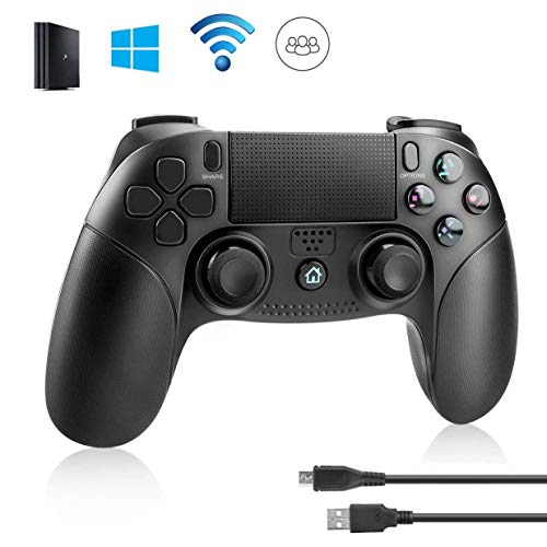 PS4 Controller,Powcan Wireless Bluetooth DoubleShock Controller Joystick Gamepad mit 3,5 mm Kopfhöreranschluss für PS4/PS4 Slim/PS4 Pro and PS3 / PC(Windows 7 / 8 / 10)