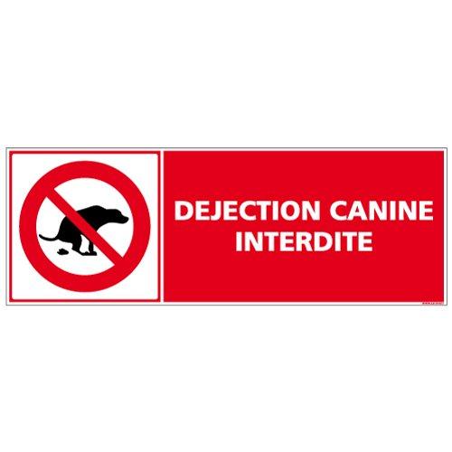 Déjection canine interdite - Panneau - Plastique rigide PVC adhésif - Porte Portail Garage - Dimensions 210 x 75 mm - Film de protection UV et anti graffiti - Double face au dos - Garantie 10 ans - pancarte interdit au chien