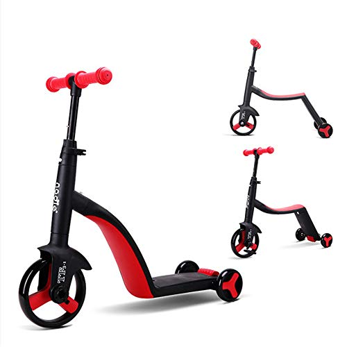 WYD Kinder Roller Dreirad, Multifunktions 3-in-1-Kind Dreirad One-Key Conversion, 2-6 Jahre altes Baby im Freien kann als Geschenk verwendet Werden,Red
