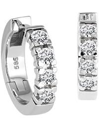 Diamond Line Damen - Ohrringe / Creolen 585er Gold 8 Diamanten ca. 0,60 ct.
