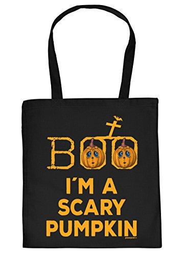 Halloween Tasche - Coole Tragetasche für Süßigkeiten : Boo I´m a Scary Pumpkin - Baumwolltasche Spruch lustiger Kürbis - Farbe: Schwarz